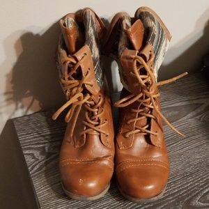 2 Way Cognac Combat Boots